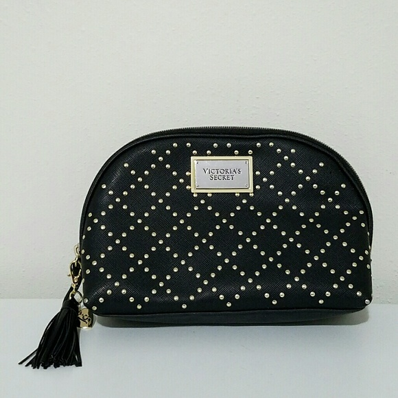 Victoria's Secret Handbags - VICTORIA'S SECRET Black and Gold Studded Makeup Ba